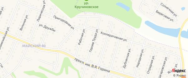 Улица Героев Труда на карте Майского поселка Белгородской области с номерами домов