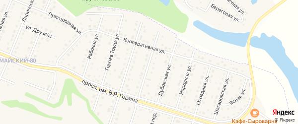 Комсомольская улица на карте Майского поселка Белгородской области с номерами домов