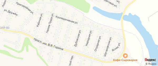 Дубовская улица на карте Майского поселка Белгородской области с номерами домов