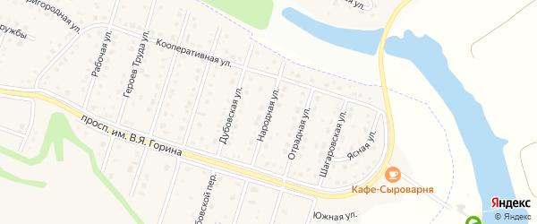 Народная улица на карте Майского поселка Белгородской области с номерами домов