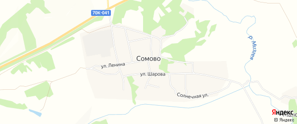 Карта села Сомово в Тульской области с улицами и номерами домов