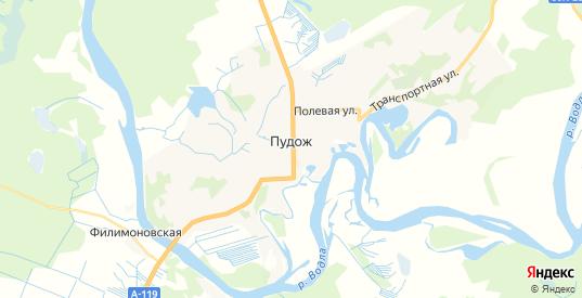 Карта Пудожа с улицами и домами подробная. Показать со спутника номера домов онлайн
