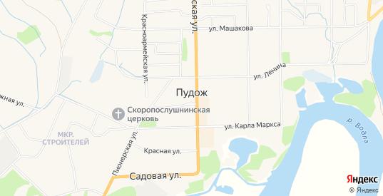 Карта поселка Аэропорт в Пудоже с улицами, домами и почтовыми отделениями со спутника онлайн