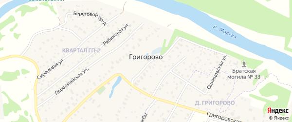 Береговой проезд на карте деревни Григорово с номерами домов