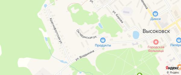 Октябрьская улица на карте Высоковска с номерами домов