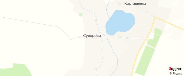 Карта села Суворово в Белгородской области с улицами и номерами домов
