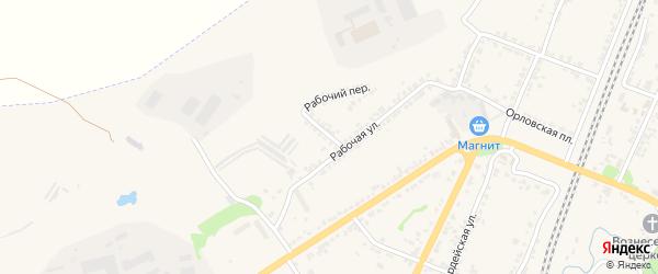 Рабочий переулок на карте Мценска с номерами домов