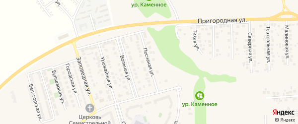 Песчаная улица на карте поселка Дубового с номерами домов