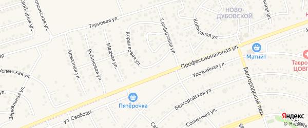 Коралловая улица на карте поселка Дубового с номерами домов