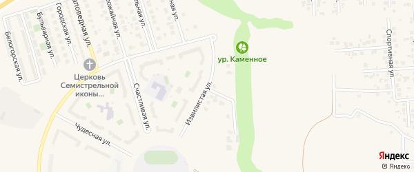 Извилистая улица на карте поселка Дубового Белгородской области с номерами домов