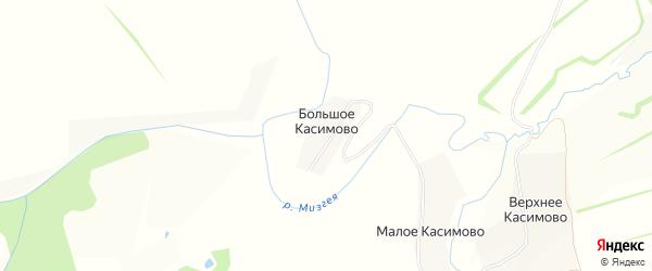 Карта деревни Большое Касимово в Тульской области с улицами и номерами домов