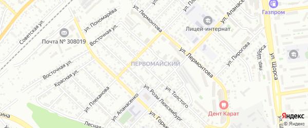 Лермонтова 1-й переулок на карте Белгорода с номерами домов