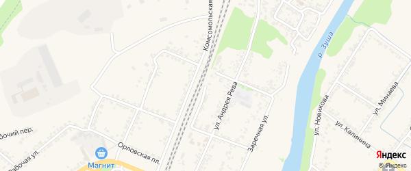 Железнодорожная улица на карте Мценска с номерами домов