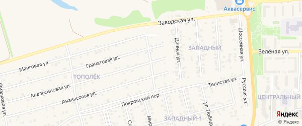 Перспективная улица на карте поселка Дубового с номерами домов
