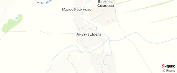 Карта деревни Амутны Дрели в Тульской области с улицами и номерами домов