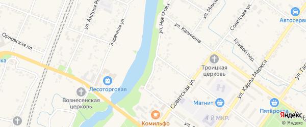 Улица Новикова на карте Мценска с номерами домов