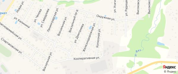 Железнодорожная улица на карте Высоковска с номерами домов