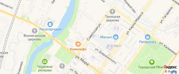 Советская улица на карте Мценска с номерами домов