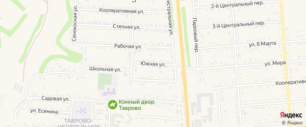 Южная улица на карте Таврово 1-й микрорайона с номерами домов