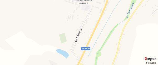 Улица 8 Марта на карте Никольского села Белгородской области с номерами домов