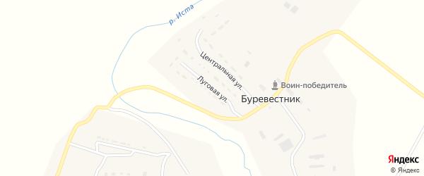 Луговая улица на карте поселка Буревестника Тульской области с номерами домов