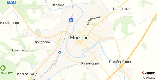Карта Мценска с улицами и домами подробная. Показать со спутника номера домов онлайн