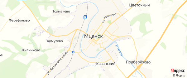 Карта Мценска с районами, улицами и номерами домов
