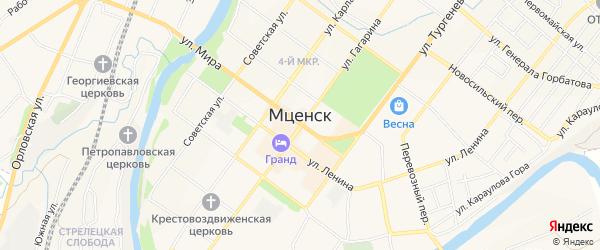 Территория ГСК Коммашевец-2 на карте Мценска с номерами домов