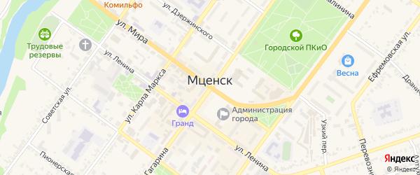 Улица Танкистов на карте Мценска с номерами домов