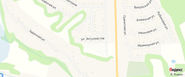 Улица Энтузиастов на карте Никольского села Белгородской области с номерами домов