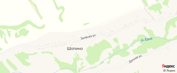 Зеленая улица на карте села Шопино с номерами домов