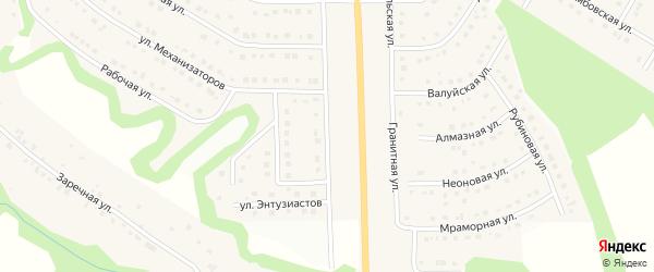 Энтузиастов 1-й переулок на карте Никольского села Белгородской области с номерами домов