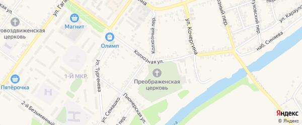 Колхозная улица на карте Мценска с номерами домов