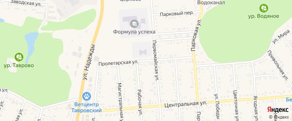 Пролетарская улица на карте Таврово 4-й микрорайона Белгородской области с номерами домов