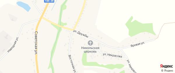 Улица Дружбы на карте Никольского села Белгородской области с номерами домов