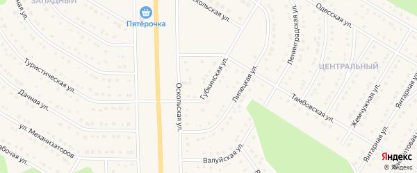 Губкинская улица на карте Никольского села Белгородской области с номерами домов