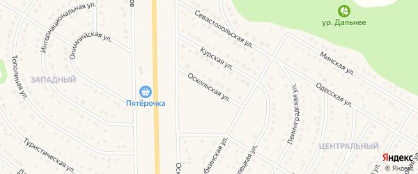 Оскольская улица на карте Никольского села Белгородской области с номерами домов