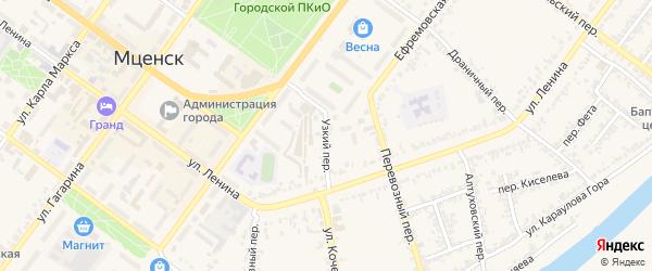Узкий переулок на карте Мценска с номерами домов