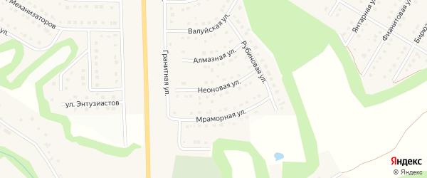 Неоновая улица на карте Никольского села Белгородской области с номерами домов