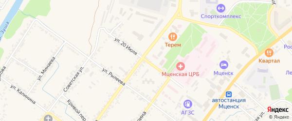 Улица 20 июля на карте Мценска с номерами домов