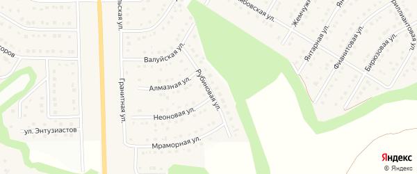 Рубиновая улица на карте Никольского села Белгородской области с номерами домов