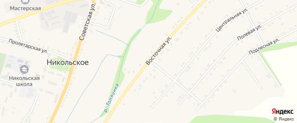 Восточная улица на карте Никольского села Белгородской области с номерами домов