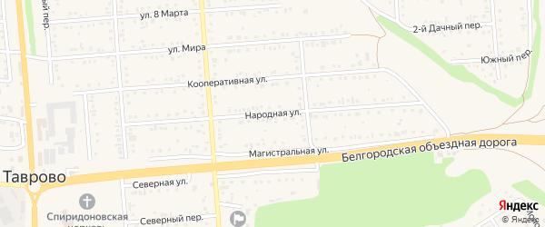 Народная улица на карте Таврово 2-й микрорайона Белгородской области с номерами домов