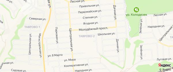 Карта Таврово 2-й микрорайона в Белгородской области с улицами и номерами домов