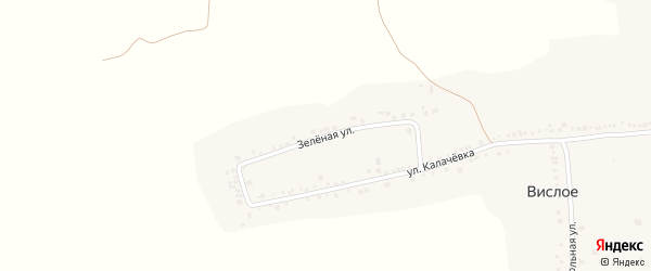 Зеленая улица на карте Вислого села с номерами домов