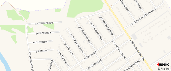 Улица Лермонтова на карте Мценска с номерами домов