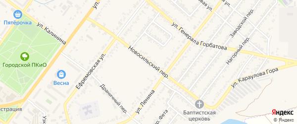 Новосильский переулок на карте Мценска с номерами домов