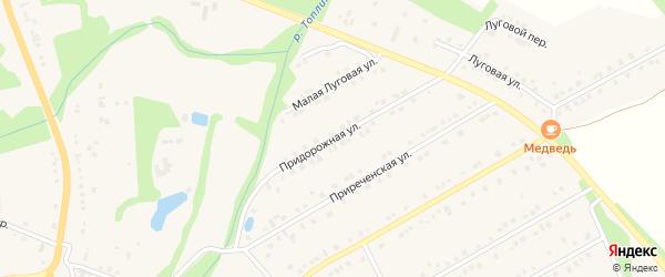 Придорожная улица на карте Никольского села Белгородской области с номерами домов