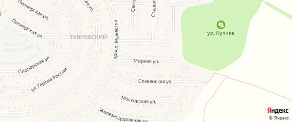 Мирная улица на карте Никольского села Белгородской области с номерами домов