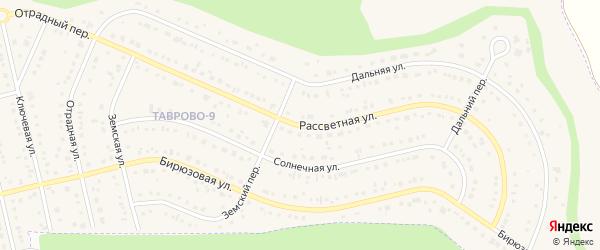 Рассветная улица на карте Таврово 3-й микрорайона Белгородской области с номерами домов